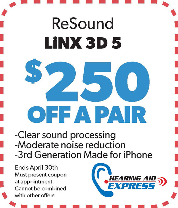 Save $250 on a pair of a ReSound LiNX 3D 5 | Hearing Aid Express