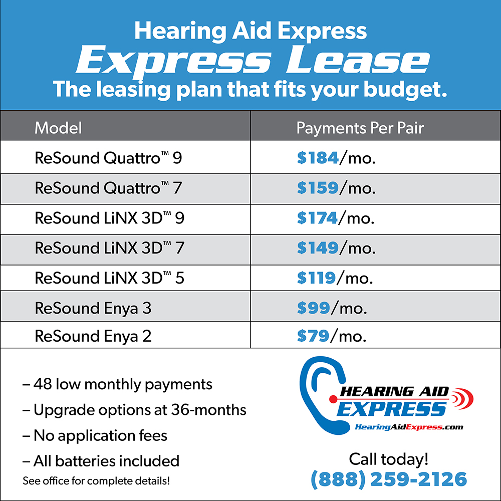Lease Hearing Aids | Low Monthly Payments | Hearing Aid Express