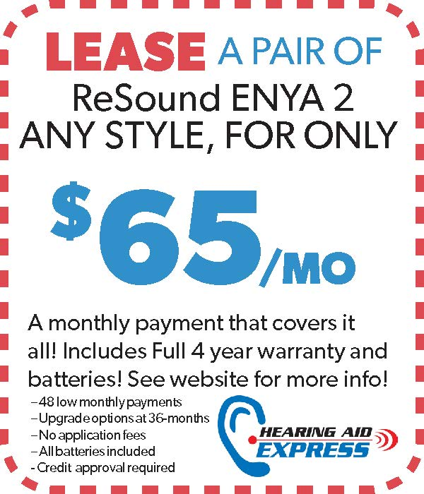 Lease a pair of ReSound Enya 2 for $65 per month | Hearing Aid Express