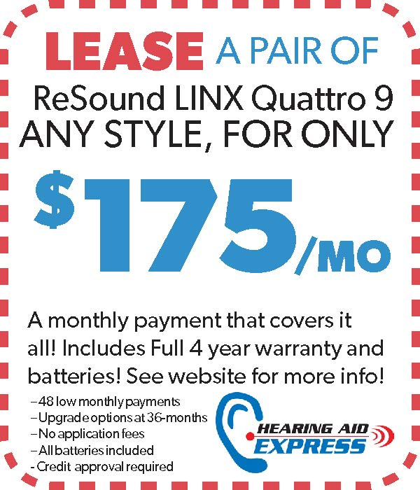 Lease a pair of ReSound LiNX Quattro 9 for $175 per month | Hearing Aid Express