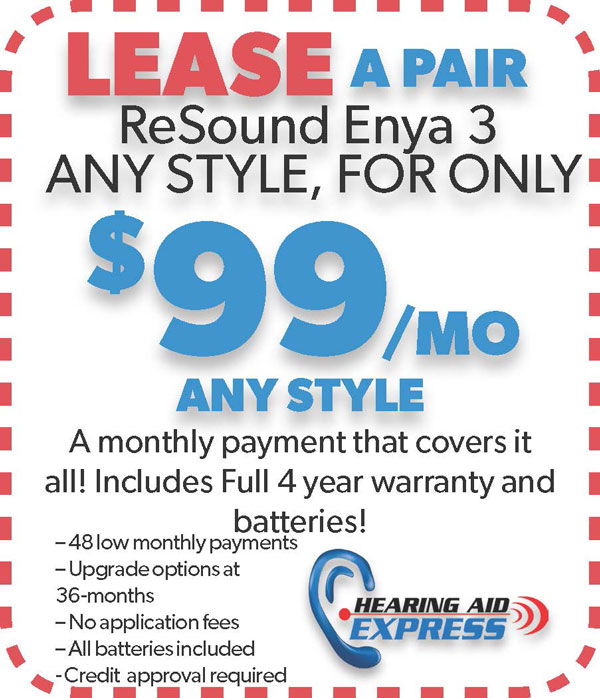 Lease a pair of ReSound Enya 3 for $99 per month | Hearing Aid Express